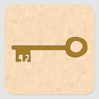 Key Brown Key on Parchment Effect Square Stickers
