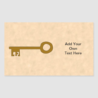 Key Brown Key on Parchment Effect Rectangle Stickers