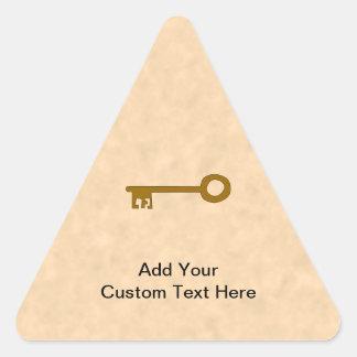 Key. Brown Key on Parchment Effect. Sticker