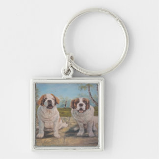 Key Chain Ann Hayes Painting Two St Bernards