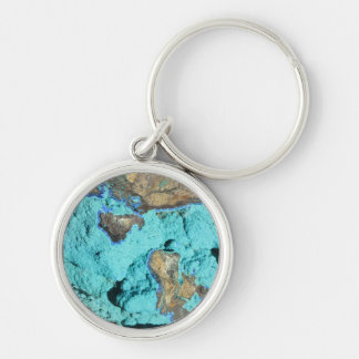 Key Chain--Azurite & Malachite Silver-Colored Round Key Ring