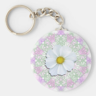 Key Chain - Basic - White Cosmos on Lace & Lattice