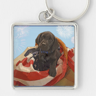 Key Chain~ Black Labrador Puppy Silver-Colored Square Key Ring