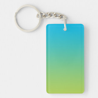 Key Chain: BLUE GREEN OMBRE Double-Sided Rectangular Acrylic Key Ring