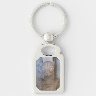 Key Chain--Egyptian Cat Silver-Colored Rectangle Key Ring