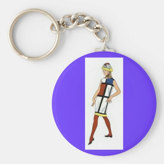 Key Chain - Fashionista 1960s Colorblock Dress