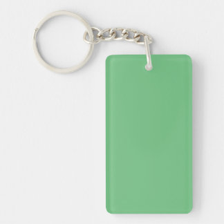 Key Chain: GREEN COLOR Double-Sided Rectangular Acrylic Key Ring