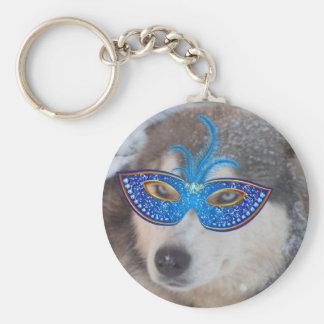 Key Chain Husky Blue Eyes Mardi Gras Mask