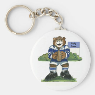 Key Chain - Male Rugby Bear in Blue