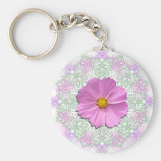Key Chain - Med. Pink Cosmos On Lace & Lattice