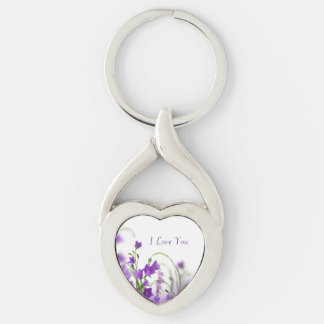 Key Chain--Purple Flowers-Horizontal Silver-Colored Twisted Heart Key Ring