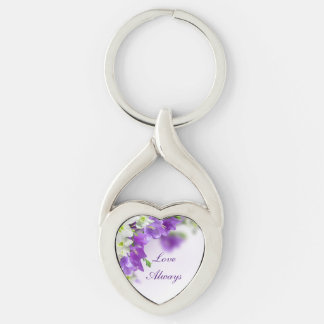 Key Chain--Purple Flowers-Vertical Silver-Colored Twisted Heart Key Ring