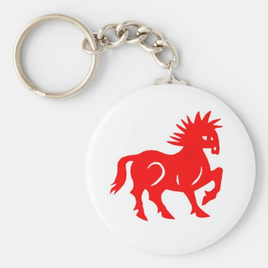 Key Chain: Red Horse Chinese Zodiac Basic Round Button Key Ring
