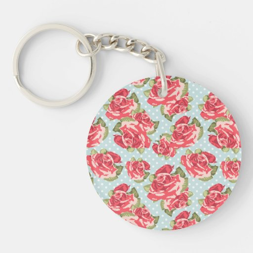Key chain Shabby Chic Roses Floral Vintage