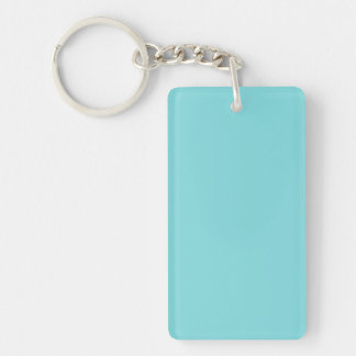 Key Chain: SOFT BLUE COLOR Double-Sided Rectangular Acrylic Key Ring