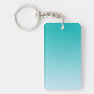 Key Chain: TEAL OMBRE Double-Sided Rectangular Acrylic Key Ring