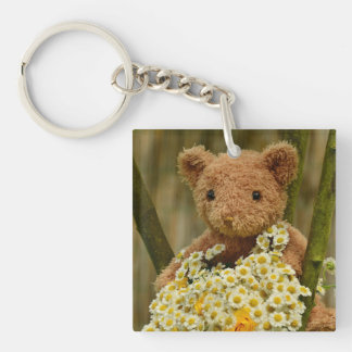 Key Chain--Teddy Bear & Daisies Double-Sided Square Acrylic Key Ring