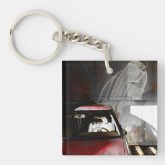 Key chain watercolor photo red car with reflection