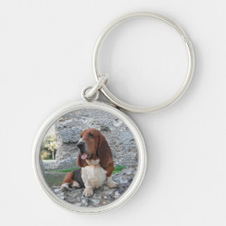 Key Chain With Basset Hound Castle Ruin Visit