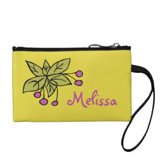 Key Coin Clutch with hand-drawn bush with berries
