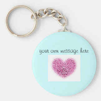 Key Fob - pink heart design with custom message. Basic Round Button Key Ring