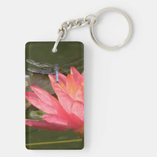 Key fob with flowers and a resting Blue Dragonfly Double-Sided Rectangular Acrylic Key Ring