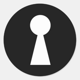key hole symbol secret indiscret sign classic round sticker