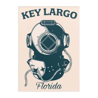 Key Largo Florida Nautical Diving travel poster Acrylic Print