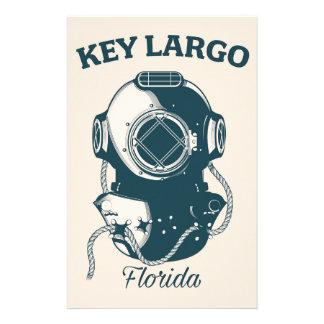 Key Largo Florida Nautical Diving travel poster Stationery