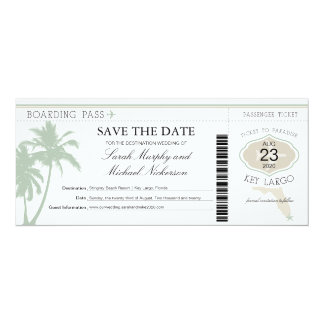 Key Largo Florida Save the Date Boarding Pass Card