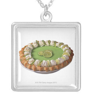 Key lime pie silver plated necklace