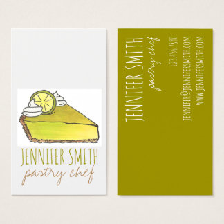 Key Lime Pie Slice Pastry Chef Food Business Cards