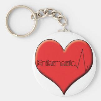 Key ring enfermerito heart basic round button key ring