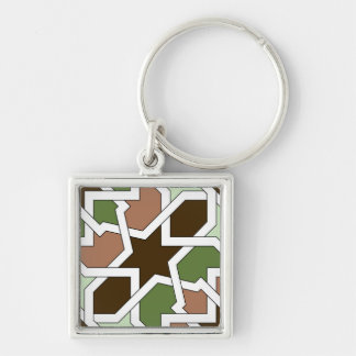 KEY RING HIGH QUALITY DESIGN MODELO ALHAMBRA Numbe Silver-Colored Square Key Ring