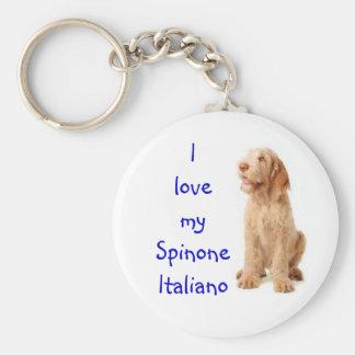 "Key ring - ""I love my Spinone Italiano"". Basic Round Button Key Ring"