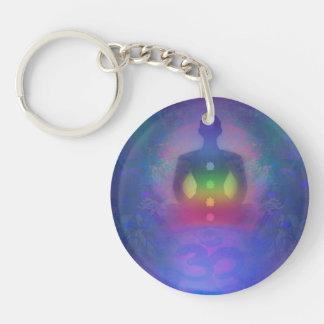 Key Ring - Meditation Yoga Aum Double-Sided Round Acrylic Key Ring