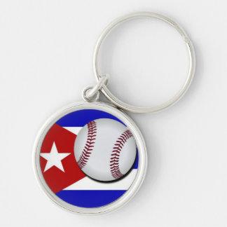 Key ring of Cuban Baseball Ball Silver-Colored Round Key Ring