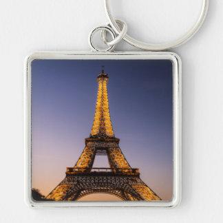 Key-ring Paris-Turn Eiffel #2 Silver-Colored Square Key Ring