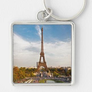 Key-ring Paris-Turn Eiffel #6 Silver-Colored Square Key Ring