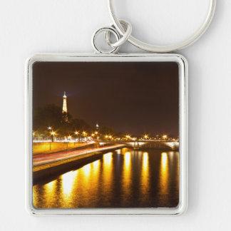 Key-ring Paris-Turn Eiffel #7 Silver-Colored Square Key Ring