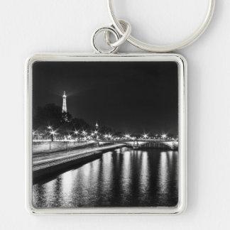 Key-ring Paris-Turn Eiffel #8 Silver-Colored Square Key Ring