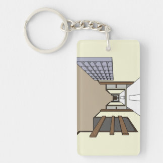 Key ring with corridor design Double-Sided rectangular acrylic key ring