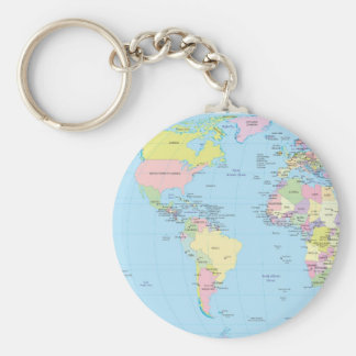 Key ring with World map Basic Round Button Key Ring