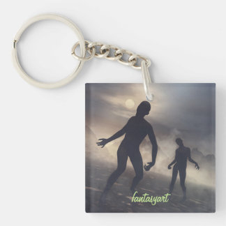 key ring with zombie illustrations