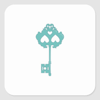 Key Skeleton Square Stickers