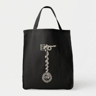 Key & Snake - cream white Grocery Tote Bag