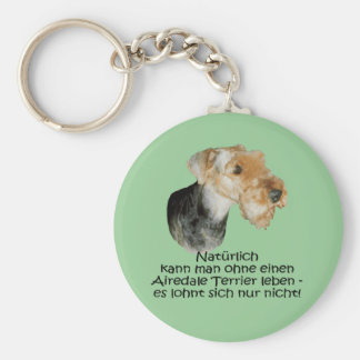 """Key supporter """"Airedale Terrier """" Basic Round Button Key Ring"""