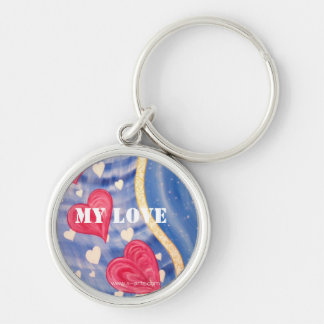 """Key supporter approximately """"MY LOVE """" Silver-Colored Round Key Ring"""