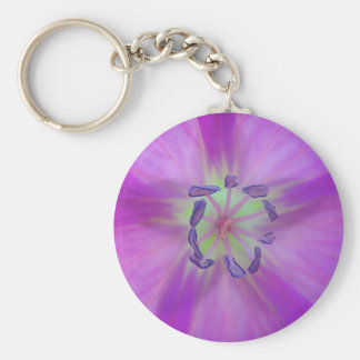 Key supporter purple-yellow bloom star basic round button key ring