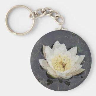 Key supporter white sea-rose bloom basic round button key ring
